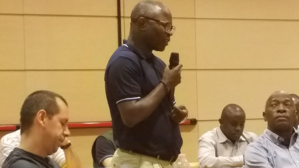 Fr. Jean-Marie Bilwala Kabesa, Delegate of Canada, addresses the newly elected